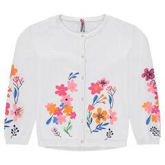 Chaqueta de punto fino con flores estampadas y detalles bordados