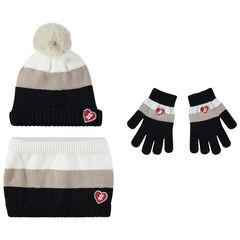 Conjunto gorro, guantes y snood  de punto con badges en forma de corazón