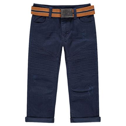 Pantalón de algodón teñido con efecto arrugado y cinturón desmontable