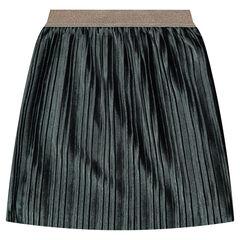 Falda larga plisada de pana de terciopelo