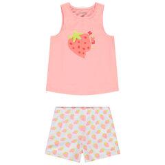 Pyjama avec débardeur et short imprimés fraises