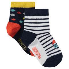 Juego de 2 pares de calcetines variados a rayas/con estampado all-over