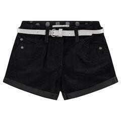Pantalón corto de terciopelo raso y cintura brillante plateada