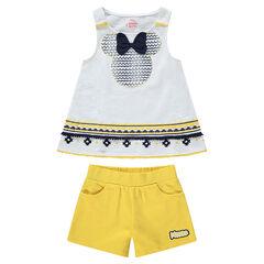 Conjunto con camiseta y estampado de Minnie de estilo étnico y deportivo amarillo