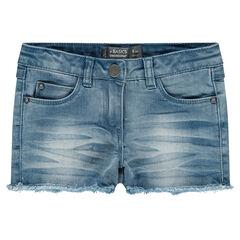 Pantalón corto efecto gastado con flecos