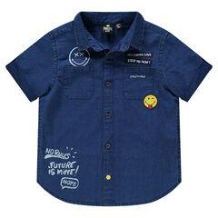 Camisa de manga corta color vaquero con parches ©Smiley