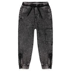 Pantalón de chándal sobreteñido de felpa ligera con bolsillos