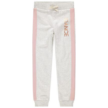 Pantalón de chándal de felpa con bandas rosas y toques dorados