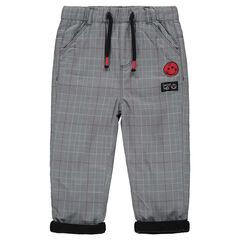 Pantalón Príncipe de Gales con parche ©Smiley y forro de micropolar