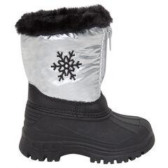 Botas de nieve plateadas con parte superior de pelo sintético