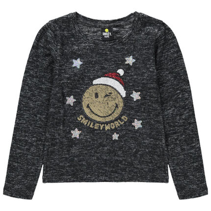 Camiseta de manga larga de punto jasprado con Smiley de lentejuelas mágicas