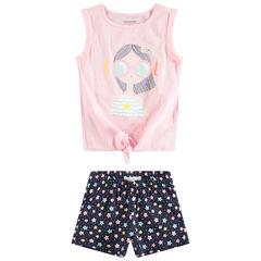 Conjunto de camiseta con personaje estampado y pantalón corto con estrellas all over