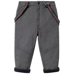 Pantalón de finas rayas forrado polar con tirantes amovibles