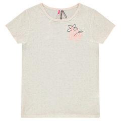 Júnior - Camiseta de manga corta de punto y estampado de fantasía con flores bordadas
