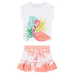 Conjunto de camiseta con estampado de flamenco rosa y efecto shibori