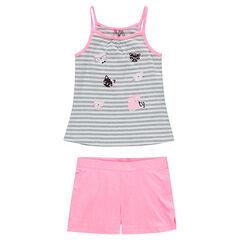 Conjunto de punto con camiseta de rayas estampada y pantalón corto liso