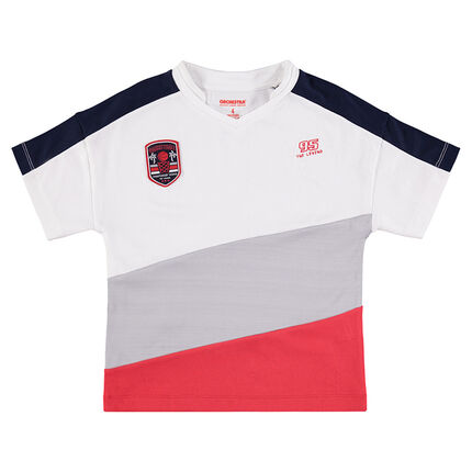 Camiseta de manga corta con amplias bandas que contrastan
