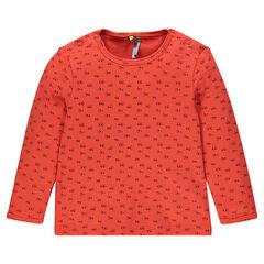 Camiseta manga larga de tejido de punto con estampado all-over