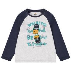 Camiseta de manga larga de punto bicolor con skateboard estampado