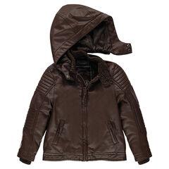Cazadora estilo motero de efecto cuero con capucha desmontable