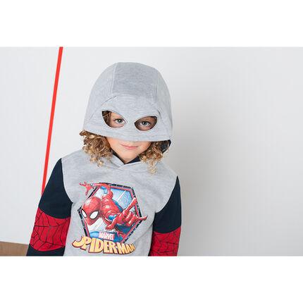 Sudadera de felpa con estampado ©Marvel Spiderman y capucha de efecto máscara