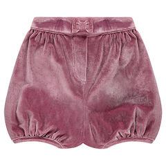 Shorts bombachos en terciopelo arrugado