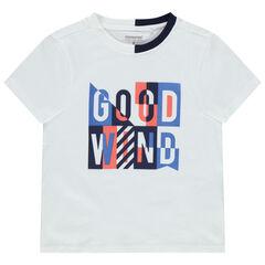 Camiseta de manga corta de punto con cuello bicolor