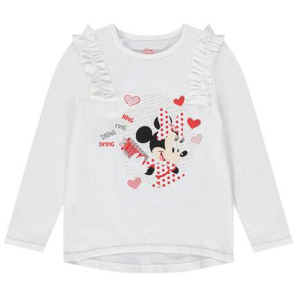 Camiseta de manga larga estampada Disney Minnie con nido de abeja