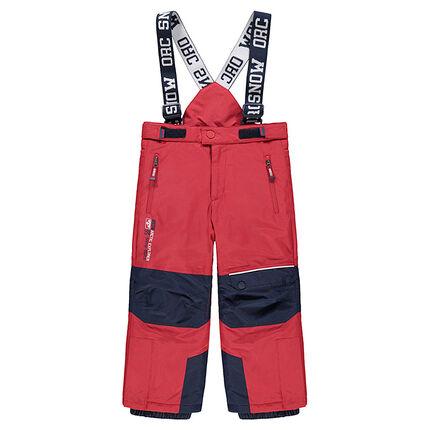 Pantalón de esquí rojo impermeable con tirantes desmontables