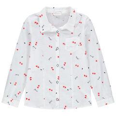 Camisa de manga larga con estampado de corazones all-over y bolsillo