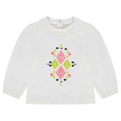 Camiseta de mangas tipo globo con dibujo de color estampado
