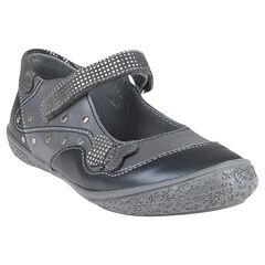 Zapatos merceditas de cuero de color gris con detalle con remaches