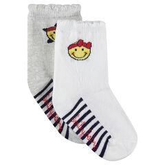 Juego de 3 pares de calcetines con rayas y dibujo de ©Smiley de jácquard