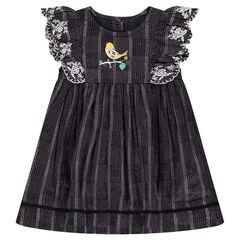 Vestido de manga corta con volantes y bordados con pájaro estampado