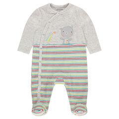 Pijama de terciopelo con parche de osito y rayas en contraste