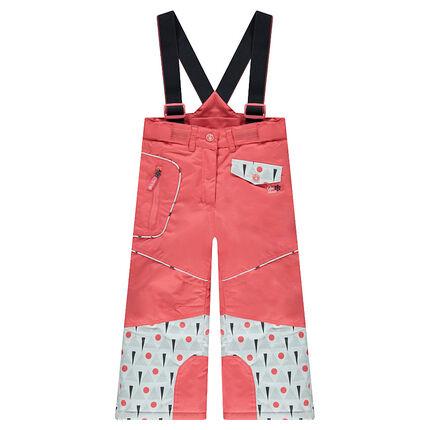 Pantalón de esquí con tirantes desmontables y estampado gráfico