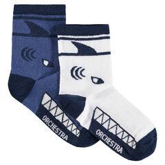 Juego de 2 pares de calcetines variados con motivo de tiburón en jácquard