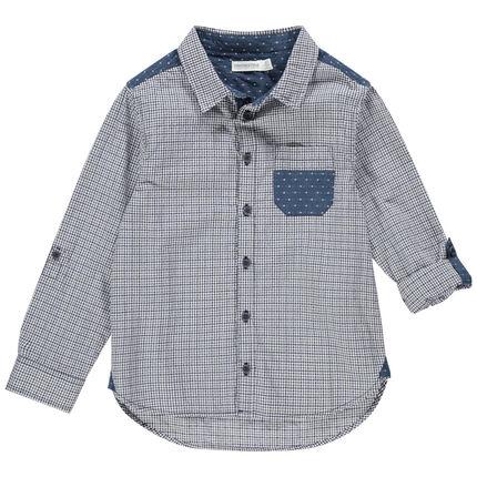 Camisa de manga larga con cuadros y lunares con bolsillo
