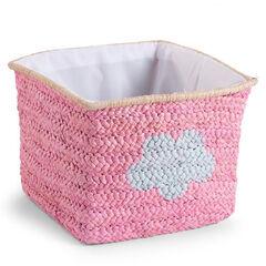 Panier paille tressé 30 x 33 x 33 cm Pink Star & Cloud