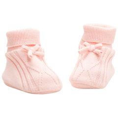 Zapatillas de algodón ecológico con juego de punto y lazo