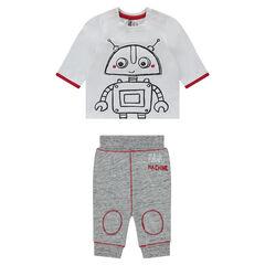 Conjunto de camiseta con estampado de robot y pantalón de felpa