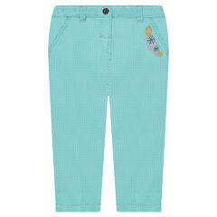 Pantalón de algodón de fantasía con flores bordadas