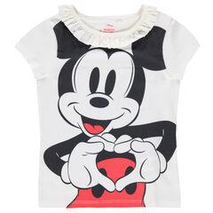 Camiseta de punto con cuello con volantes y estampado de Mickey ©Disney
