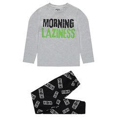 Júnior - Pijama de punto con mensaje estampado y pantalón con estampado all over