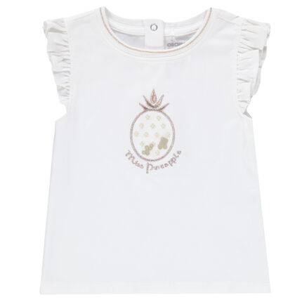 Camiseta sin mangas de volantes con piña bordada