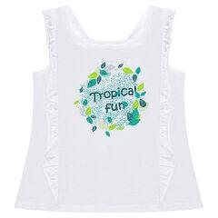 Camiseta de punto con volantes y estampado vegetal
