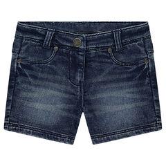 Pantalón corto vaquero efecto gastado y arrugado