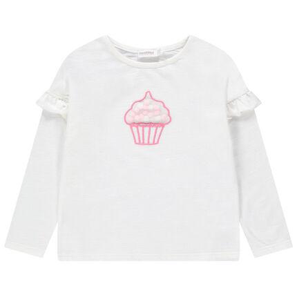 Camiseta de manga larga con volantes y cupcake de tul