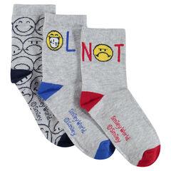 Juego de 3 pares de calcetines variados con motivos jacquard Smiley