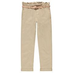Pantalón de sarga con cinturón brillante extraíble